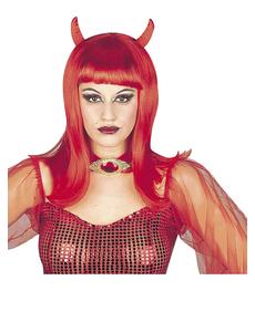 Peluca de diablesa roja con flequillo para mujer