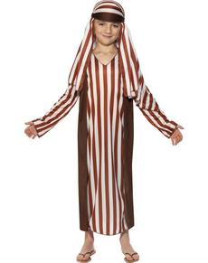 Disfraz de pastor marrón y blanco para niño