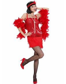 Disfraz de cabaret años 20 rojo para mujer