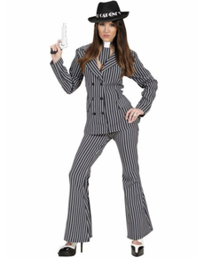 Disfraz de gángster mafiosa para mujer