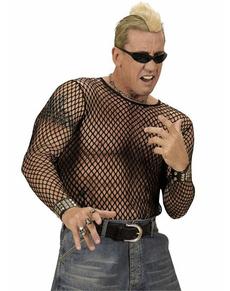 Camiseta de malla negra para hombre