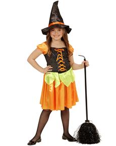 Disfraz de brujita calabaza con lentejuelas para niña